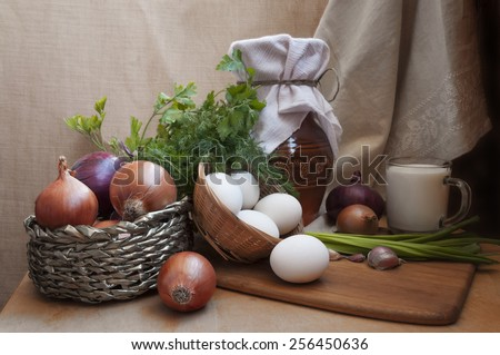 Table filled with different types of Health  natural food - stock photo