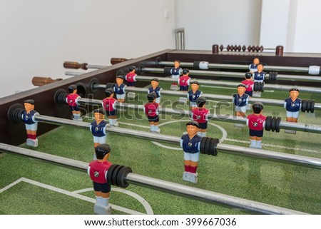 Table football game, Soccer table, close up. - stock photo