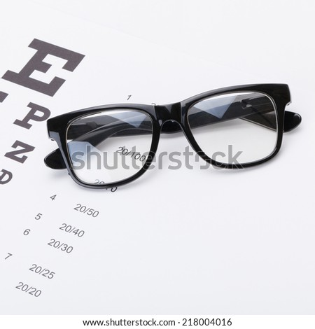 Table for eyesight test with glasses over it - studio shot - 1 to 1 ratio - stock photo
