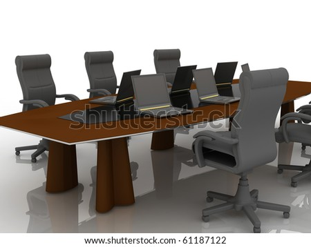 table for negotiations - stock photo