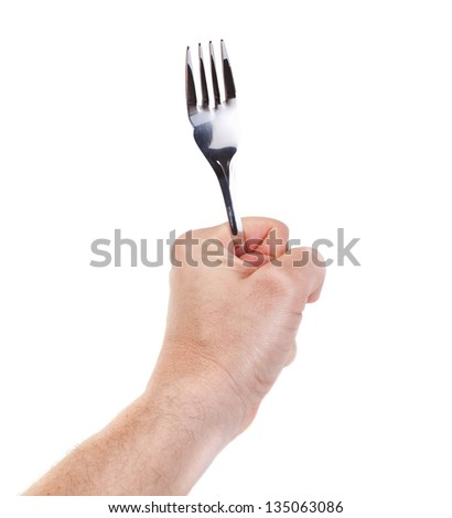 Table forks in hand, a client at the restaurant. - stock photo