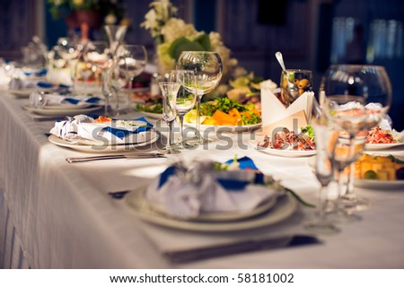 table in a restaurant - stock photo