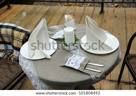 Table in a street cafe