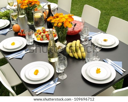 Table in garden ready for a party - stock photo