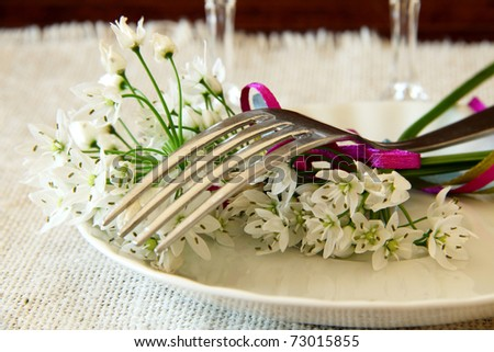 Table Laid For wedding , A Romantic Dinner or other events. Table Setting with flowers - stock photo