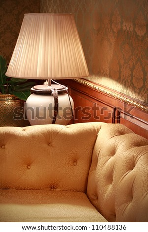 table lamp and sofa - stock photo
