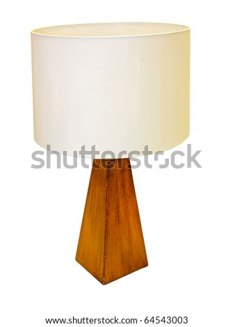 Table lamp with wooden base and clipping path included - stock photo