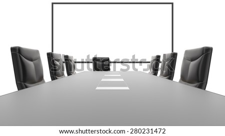 Table level view of office table with whiteboard in background. - stock photo