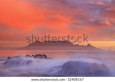 Table Mountain and Cape Town - stock photo