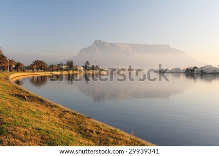Table Mountain, Cape Town, South Africa as seen from the subburb of Milnerton - stock photo