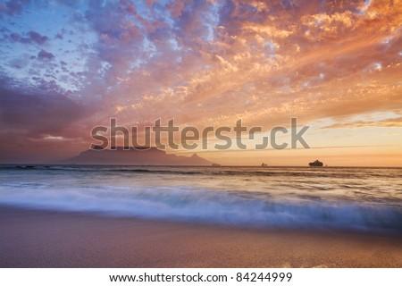 Table Mountain sunset - stock photo