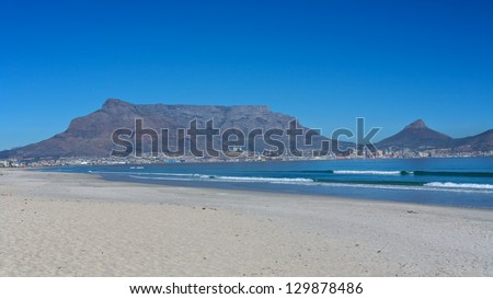 Table Mountain, taken from Blouberg Beach in Cape Town, South Africa - stock photo