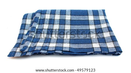 Table napkin or tablecloth blue and white - stock photo