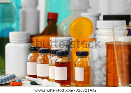 Table of drug laboratory close up - stock photo
