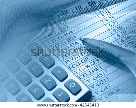 Table, pen, ruler and calculator, picture about statistic.