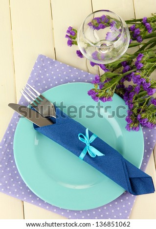 Table serving on a wooden background