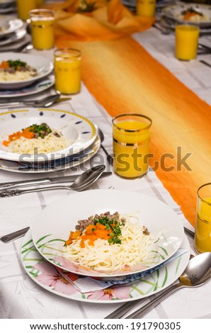 table set for a lavish dinner