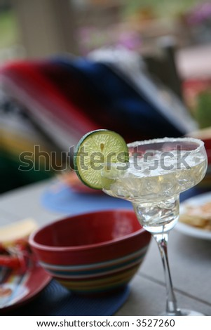 table set for a Mexican theme dinner - stock photo