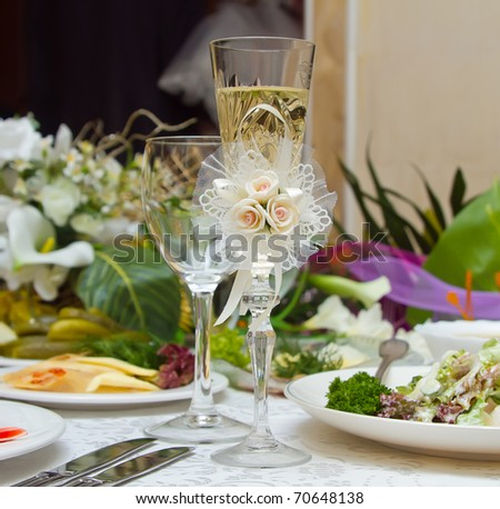 Table set for an wedding party or - stock photo