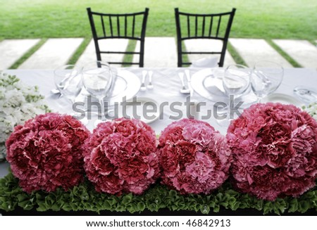 Table set for bride and groom - stock photo