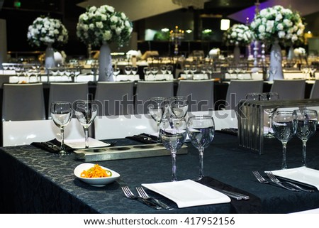Table set for wedding or another catered event dinner . - stock photo