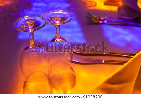 Table set in restaurant - stock photo