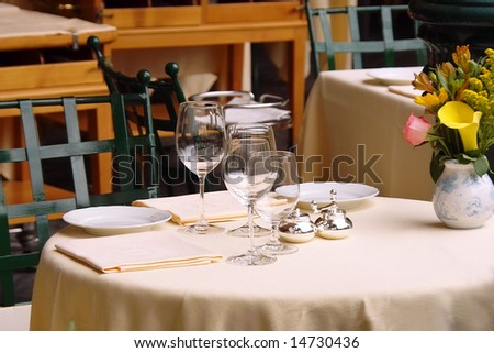 Table set of a luxury Italian restaurant