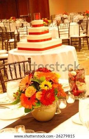 Table Setting and  Wedding Cake - stock photo