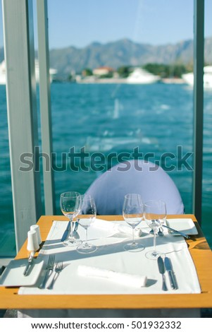 Table setting at a luxurious beach and sea restaurant - A romantic setting