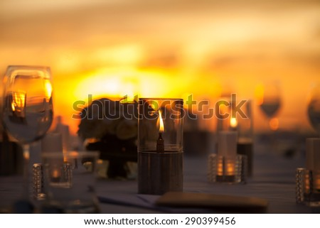 Table Setting at a Wedding Reception on beach  - stock photo