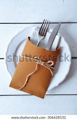 Table setting close-up - stock photo