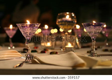 Table setting for a banquet.