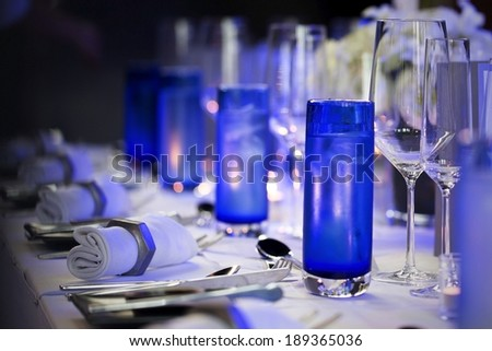Table setting for a wedding reception or an event  - stock photo