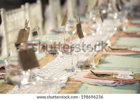 Table setting for an wedding reception - stock photo