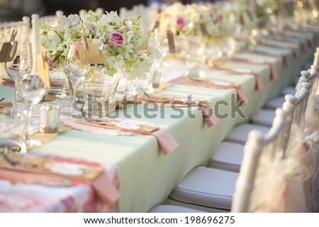 Table Setting Wedding Reception Stock Photo (Royalty Free) 198696275 - Shutterstock & Table Setting Wedding Reception Stock Photo (Royalty Free) 198696275 ...