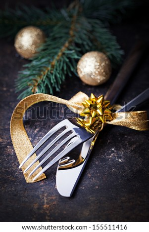 table setting for christmas with bow   - stock photo