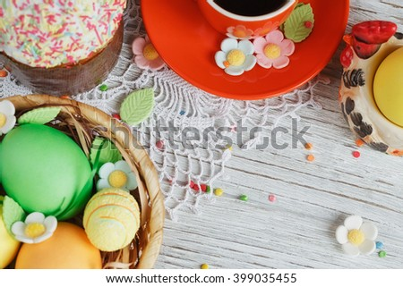 Table setting for Easter - Easter cakes coffee cup and colored eggs & Table Setting Easter Easter Cakes Coffee Stock Photo 399035455 ...
