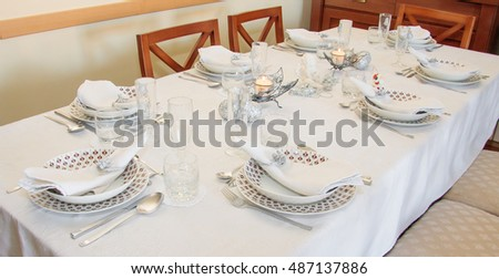 Table setting for family meal