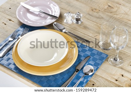 Table setting for 1 person on a wooden table & Table Setting 1 Person On Wooden Stock Photo u0026 Image (Royalty-Free ...