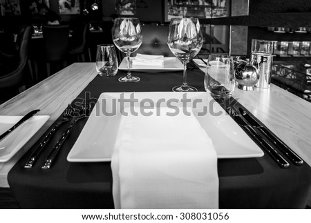 Table setting for two - stock photo