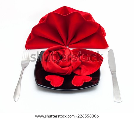 Table setting for Valentine's Day or wedding isolated on white background.