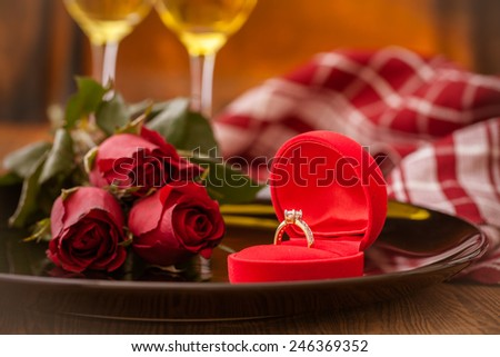Table setting for valentines day - stock photo