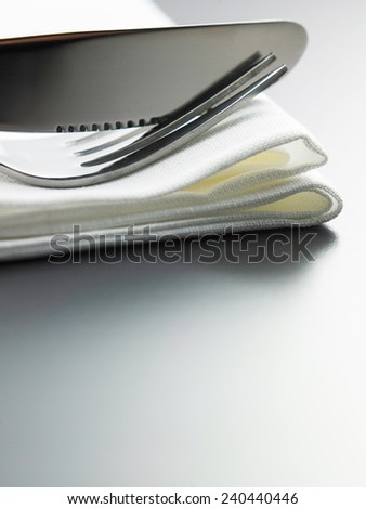 table setting fork and knife on the napkin