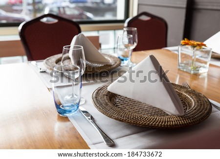 Table setting in a nice european restaurant - stock photo