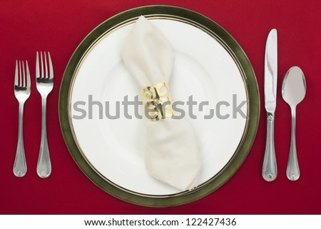Table setting in a top view image - stock photo