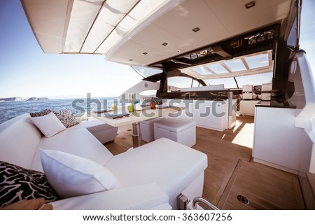 table setting luxury motoryacht - stock photo