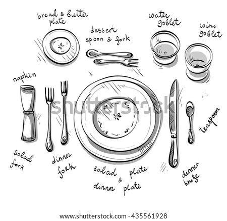 Table Setting Sketch Stock Illustration 435561928 - Shutterstock