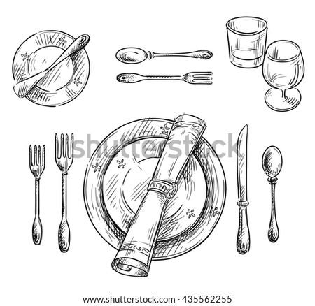 Table Setting Sketch Stock Illustration 435562255 - Shutterstock