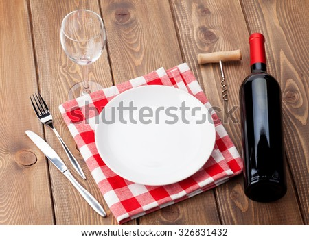 Table Setting Background empty plate cutlery napkin glass on stock photo 310890707