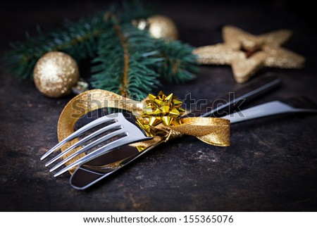 table setting with gold and decoration - stock photo